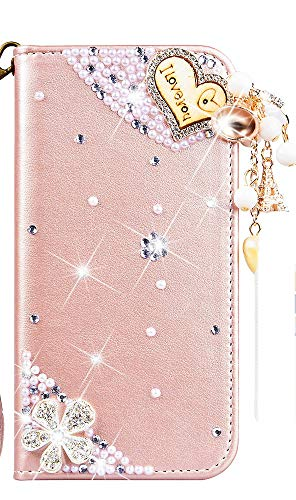 - STENES Galaxy Grand Prime Case - Stylish - 3D Handmade Heart Pendant Flowers Design Magnetic Wallet Credit Card Slots Fold Stand Leather Cover for Samsung Galaxy Grand Prime G5308/G530H - Pink