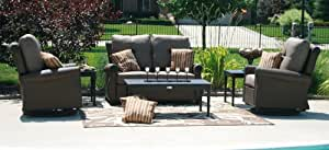 The Giovanna Collection 6-Piece All Weather Wicker/Cast Aluminum Patio Furniture Deep Seating Set