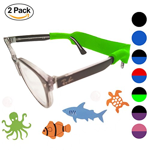 Kids Glasses Strap 2pk with Bonus Deep Sea Adventure Stickers (Green + - Kids Eyeglasses Strap