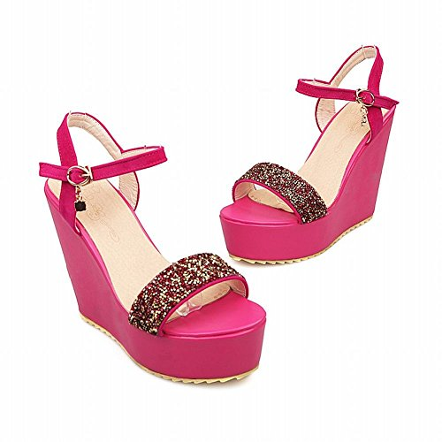 Rose Sandals Rhinestones Party Womens Carolbar Fashion Buckle Red Open Platform Dress Toe Wedges PWSZT4Zqc