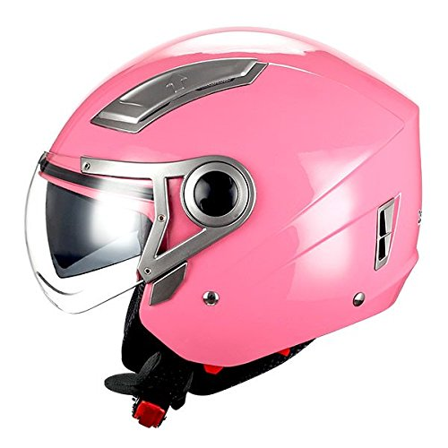 1STORM MOTORCYCLE OPEN FACE HELMET SCOOTER BIKE DUAL LENS/SUN VISOR GLOSSY Pink