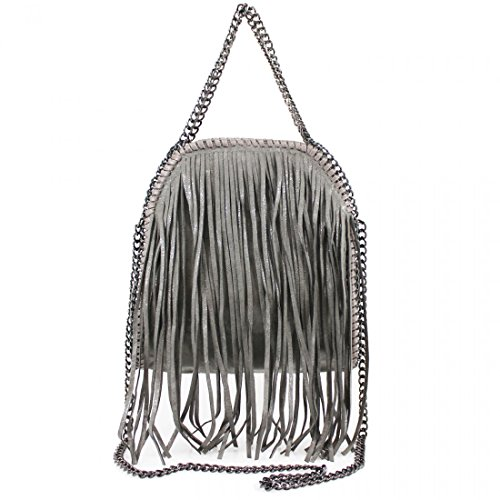 Womens Stella Design Fringe Tassel Tote Bag Ladies Shoulder Handbag Work New Dark Grey