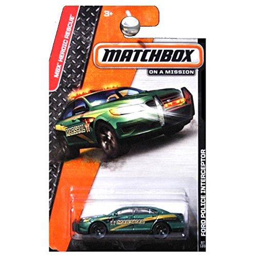 Matchbox 2014 MBX Heroic Rescue Ford Police Interceptor Taurus Green Marshall