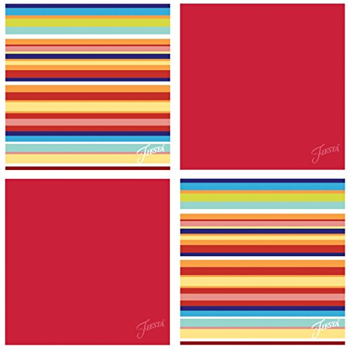 Thirstystone Occasions Fiesta Multi Stripe Scarlet Coaster Set, Multicolor