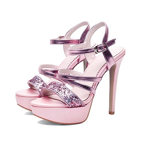 AmoonyFashion Womens Solid Pu Spikes Stilettos Open Toe Buckle Sandals Pink UwYZf
