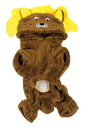 Uxcell Warm Plush Lion Style Sleeved Yorkie Dog Hoodie Jumpsuit XS Brown