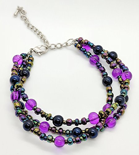 Strand Adjustable Clasp - Three Strand Beaded Bracelet, Multicolored Purple Glass Beads with Adjustable Clasp