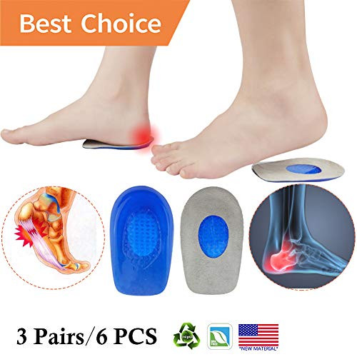 Plantar Fasciitis Inserts, Heel Cups, Gel Heel Pads Cushion *New Material* (3 Pairs) Heel Support Seats, Heel Insert, Great for Heel Pain, Achilles Tendinitis, severs Disease, for Men & Women.