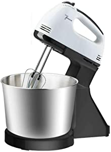 Electric Hand Mixer Cake Mixer Hand Whisk 7 Speed Food Mixers Handheld Flour Bread Egg Beater Blenders with Bowl 2 x Beaters 2 x Dough Hooks eggbeater (Stainless steel,American standard)