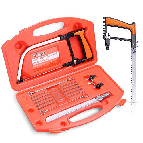 Magic Hand Saw Set, Multi-purpose 14-in-1 Hacksaw, Wood Saw, Woodworking Tools, Bow Saw, Portable Saw Kit for Cutting Wood, Tile, Glass, Metal, Hunting, Camping, Pruning, Diy in Tool case, Tabiger