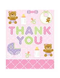 Creative Converting Baby Shower Teddy Baby Pink 8 Count Thank You Cards BOBEBE Online Baby Store From New York to Miami and Los Angeles