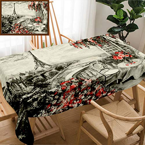 Skocici Unique Custom Design Cotton and Linen Blend Tablecloth Oil Painting Summer Cafe in Paris Gentle City Landscape Abstract Flower View from AboveTablecovers for Rectangle Tables, 60