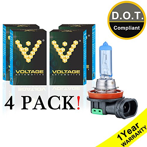Voltage Automotive H11 Headlight Bulb Polarize White Replacement (4 Pack) - Professional Upgrade Head Light Bulb ()