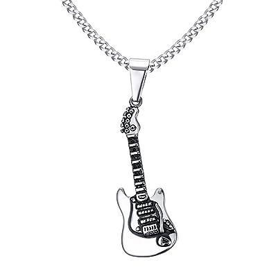 BOBIJOO Jewelry - Colgante, Collar con Guitarra Eléctrica De Eje De Balancín De Acero Inoxidable Hombre Músico + Cadena: Amazon.es: Joyería