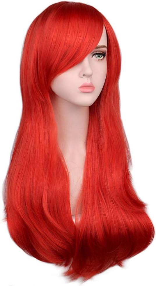 Peluca cosplay ondulada larga para mujer Rojo Rosa Rosa Negro Azul Astilla Gris Marrón 70 cm Temperatura Pelucas de cabello sintético-rose_pink_26inches blonde