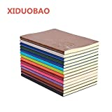 XIDUOBAO Writing Journal Notebook, PU Leather Colorful Journals, Daily Notepad Diary Cute Journal Travel Notebooks College Ruled for Students, A5 Size, 64 Sheets/128 Pages, Pack of 4, Random Colors