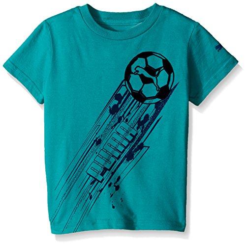 Soccer Short Graphic Sleeve Tee (PUMA Little Boys' Graphic Short Sleeve Tee Shirt, Simply Green, 5)