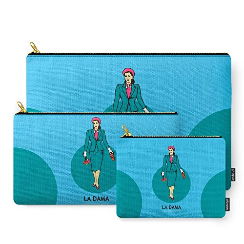 Price comparison product image Society6 La Dama Mexican Loteria Carry-All Pouch Set of 3