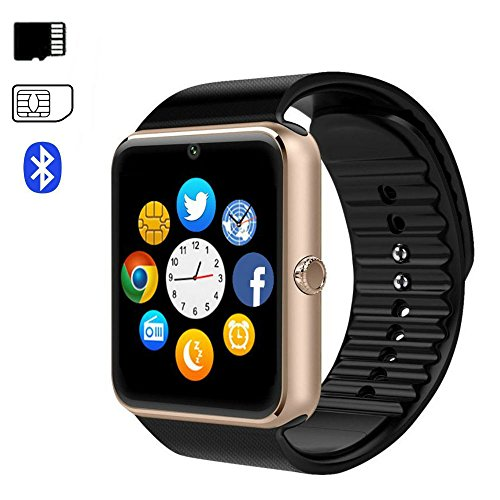 Bluetooth Smart Watch with Camera Touch Screen Smart Wrist Watch Pedometer Stopwatch Sleep Monitor Smartwatch Phone Messages Notification for Android IOS Iphone Samsung GT08 For Sale