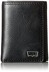 Levi's Men's Trifold Wallet with Levis Batwing Hardware Logo, Black, One Size
