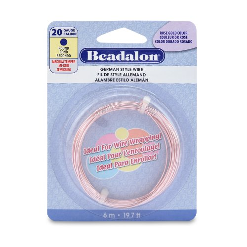 Beadalon 20-Gauge German Style Round Jewelry Wire, Silver Plated Rose Gold, 6m