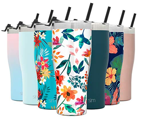Simple Modern 32oz Slim Cruiser Tumbler with Straw & Closing Lid Travel Mug – Gift Double Wall Vacuum Insulated – 18/8 Stainless Steel Water Bottle Pattern: Florista