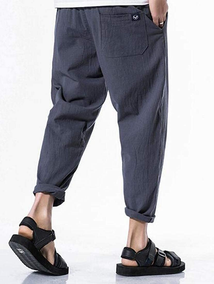 MK988 Mens Cotton Linen Drawstring Slim Fit Solid Jogger Pencil Pants Trousers