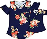 BNY Corner Toddler Girl Kids Cold Shoulder Fall Holiday Easter T-Shirt Top Navy 2T XS 201305