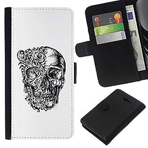 KLONGSHOP // Tirón de la caja Cartera de cuero con ranuras para tarjetas - Cráneo floral Negro Blanco Huesos del motorista - Sony Xperia M2 //