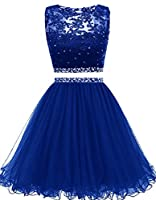Himoda Women's Two Pieces Short Prom Gowns Beaded Homecoming Dresses H021