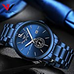 51xgxrue9NL. SS150  - NIBOSI Mens Analogue Quartz Watch with Stainess Steel Strap Top Brand Luxury Business Quartz Watch Men Full Steel Fashion Waterproof (Blue)