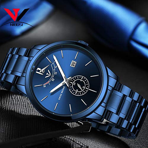 51xgxrue9NL. SS500  - NIBOSI Mens Analogue Quartz Watch with Stainess Steel Strap Top Brand Luxury Business Quartz Watch Men Full Steel Fashion Waterproof (Blue)