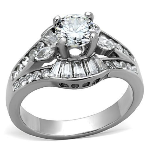 316L Stainless Steel 1.45 ct Solitaire Cubic Zirconia Engagement Cocktail Ring, Size 11