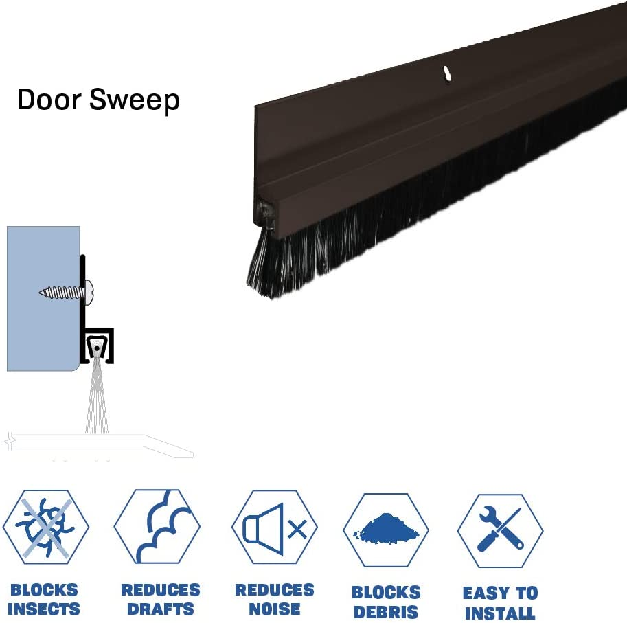 Clear Anodized Aluminum Door Bottom Sweep with 5//8 Nylon Brush 72918CA 5//16 W x 1 H x 42 L SMS #6 x 1//2 Supplied,