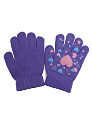 Girls Fun Winter Magic Gloves With Rubber Print (Up to 12 years) (Lilac)
