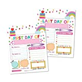 10 Pink First and Last Day of School Interview Signs, Back to School Photo Booth Prop Color White, 1st Preschool, Kindergarten, Pre K Grade Reusable Reversible Girl Boy Kid Child Year 8x10 Card Stock