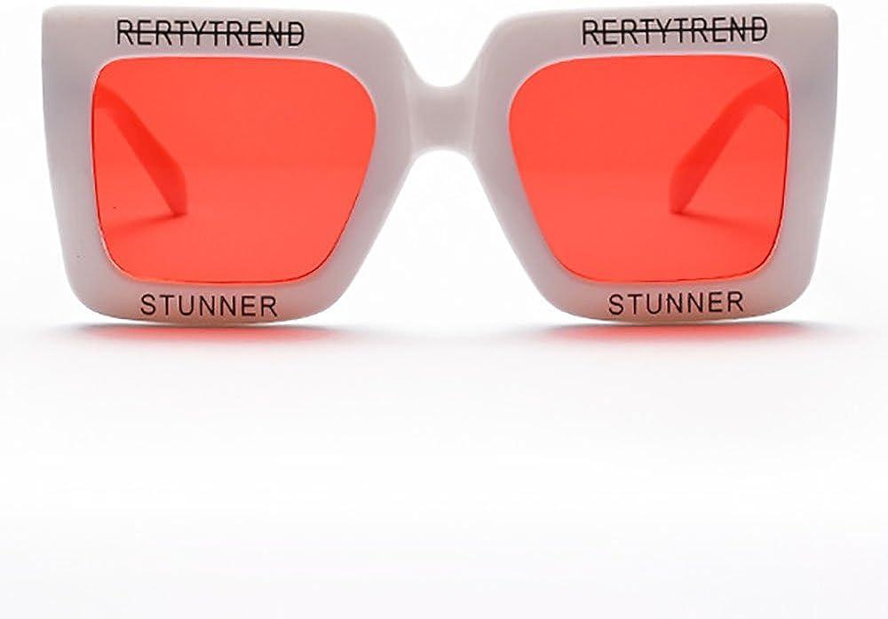 INS Oversized Letter sunglasses Retro Square Frame Stunner Eyewear Cool Gradient Lens