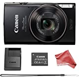 Canon PowerShot ELPH 360 Digital Camera w/ 12x Optical Zoom and Image Stabilization - Wi-Fi & NFC Enabled (Black) + DigitalAndMore Cleaning Cloth