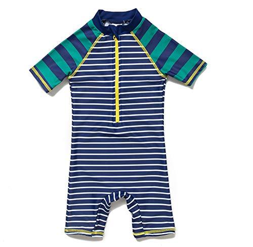 Bonverano(TM Baby boy UPF 50+ Sun Protection S/S One Piece Kids Sunsuit with Zipper (Stripes, 12-18 Months) (Wetsuit Kids Short Sleeve)