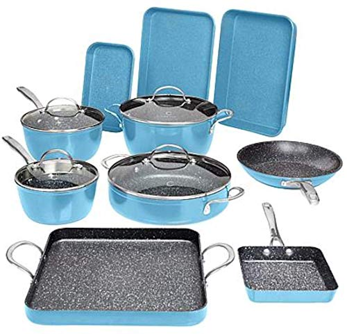 Curtis Stone 14-piece DuraPan Nonstick All-Purpose Cookware Set – Blue Slate