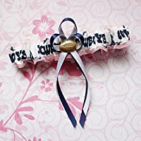 Customizable - Dallas Cowboys white fabric handmade into bridal prom pink organza wedding garter with football charm