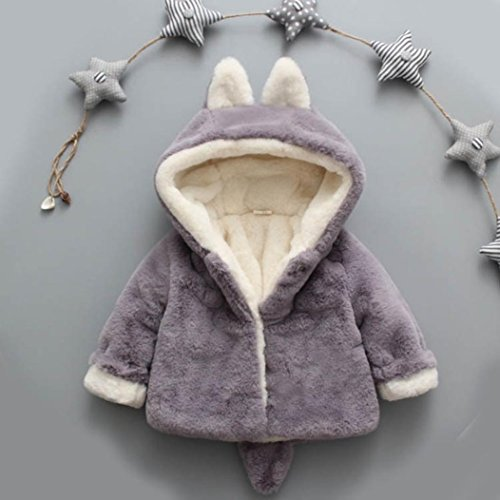 Muxika Fashion Baby Girl Fur Winter Warm Coat Cloak Jacket Thick Warm Clothes (Age:0~6 Month, Gray)