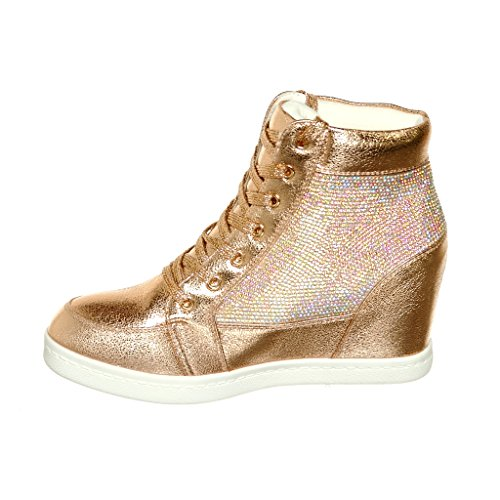 Shoewhatever Womens Metallic Glitter Top In Pizzo Con Zeppa Moda Sneakers Rosegolds65