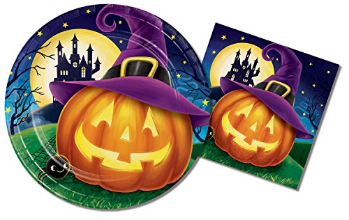 Halloween Party Supplies for Kids Bundle ~ 9 inch Paper Plates and 6.5 inch Paper Napkins with Laughing Jack-o-Lanterns ~ Service for 16 Guests ()