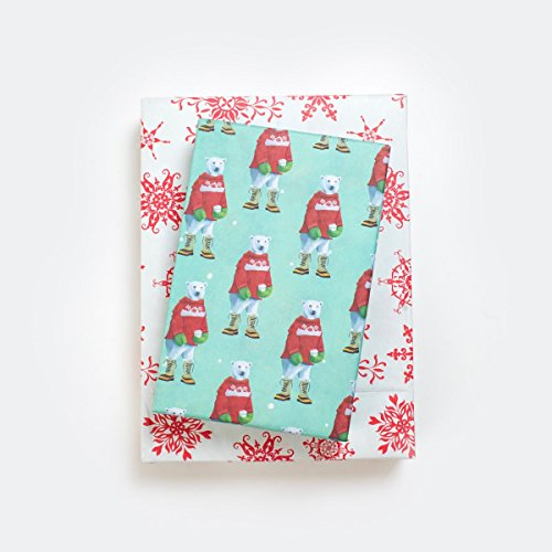 Polar Bears in Sweaters - Reversible Wrapping Paper - Eco Gift Wrap Allport Editions x Wrappily