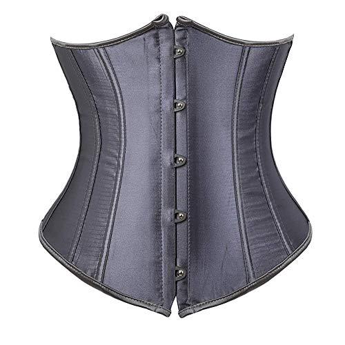 Women's Satin Lace Up Boned Lingerie Bridal Underbust Corset Top Low Back(Beige-9427/Waist:38