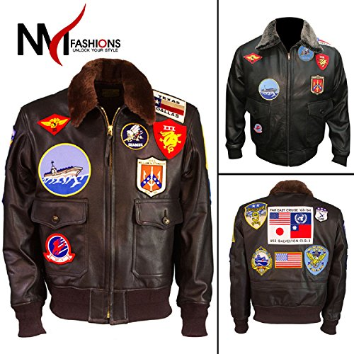 Top Gun Tom Cruise Flight Bomber Jet Pilot Leather Jacket Black ()