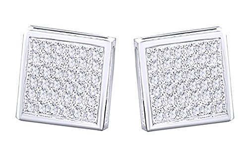 Round Cut White Natural Diamond Hip Hop Cluster Stud Earrings 10K Solid White Gold (0.41 Cttw) by wishrocks