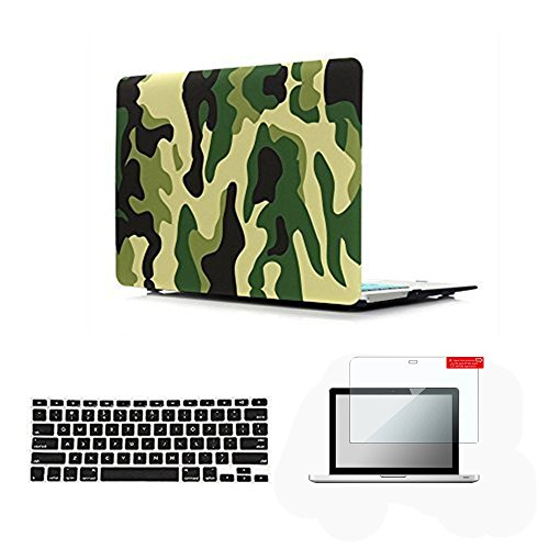 Se7enline Old MacBook Pro 13 inch Case 2009-2012 Plastic Hard Shell Case for MacBook Pro 13-inch with CD-ROM Model A1278 with Keyboard Cover, Screen Protector, Jungle Camouflage