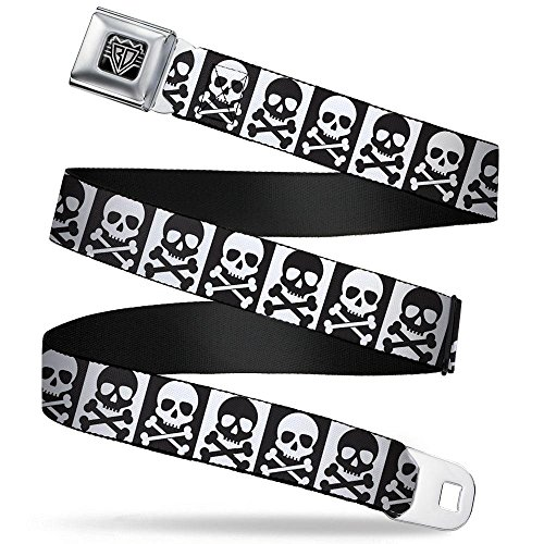 Buckle-Down Unisex-Adult's Seatbelt Belt XL, Skull/Cross Bones Blocks White/Black, 1.5